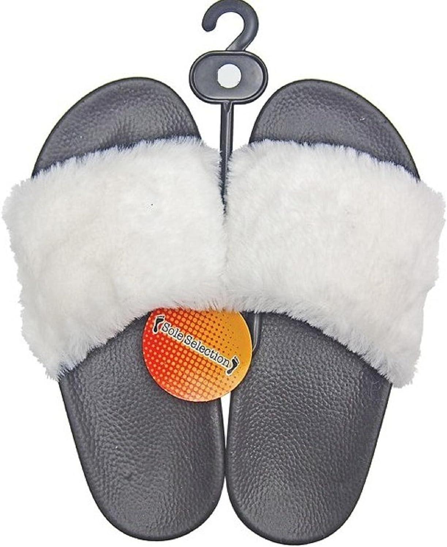 DINY Home & Style Ladies Women's Faux Rabbit Fur Slide Sandals
