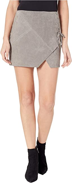 Suede Mini Skirt in Soft Fog