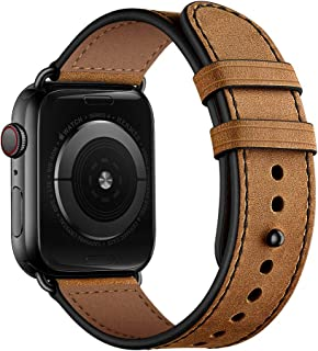OUHENG Compatible with Apple Watch Band 42mm 44mm, Men Women Genuine Leather Band Replacement Strap Compatible with iWatch Series 5 Series 4 Series 3 Series 2 Series 1 42mm 44mm, Retro Brown