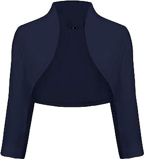 9bb6de1af9d1fc TrendiMax Damen Eleganter Bolero Jacke Schulterjacke Kurzes Jäckchen 3/4  Ärmel