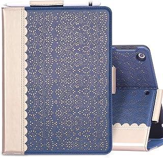 iPad 8 ケース 2020 iPad 10.2 ケース 第8世代 iPad 10.2 ケース 第7世代 2019 WWW 透かし彫り模様 [ペンの収納が便利] ペン収納付き ブック型 高級PUレザーケース 全面保護型 スタンド機能 マグネッ...