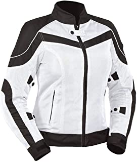 Bilt Techno Protective CE Armor Removable Liner Warm Weather Vented Women's Street Bike Motorcycle Mesh Jacket - White/Black MD