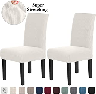 Chair Covers for Dining Room Stretch Dining Chair Covers Chair Cushions for Dining Chairs Super Fit Dining Chair Protector Removable Washable Chair Covers Set of 2, Off White