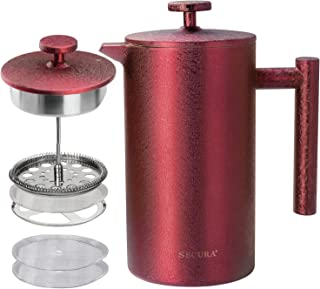 Secura French Press Coffee Maker, 304 Grade Stainless Steel Insulated Coffee Press with 2 Extra Screens, 34oz (1 Litre), Red