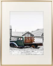 Golden State Art,16x20 Classic Satin Aluminum Landscape Or Portrait Photo Frame with Ivory Color Mat for 11x14 Photo & Real Glass (Gold)