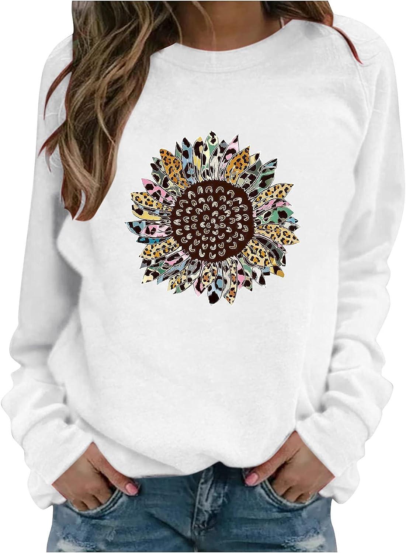 Women Long Sleeve Shirts,Womens Loose Plus Size Pullover Sunflower Print Thermal Crewneck Long Sleeve Sweatshirts