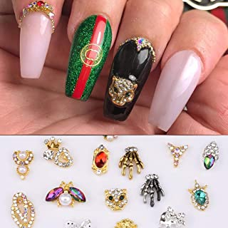 30pcs 3D Nail Art Decoration Skull Charm Lepoard Insect Design Jewel with Flower Diamonds Rhinestones