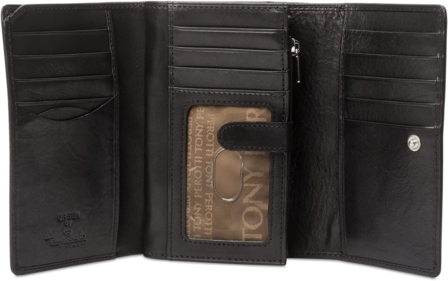 Tony Perotti Womens Italian Cow Leather Trifold Euro Clutch Wallet with ID Window and Coin Pouch in Black