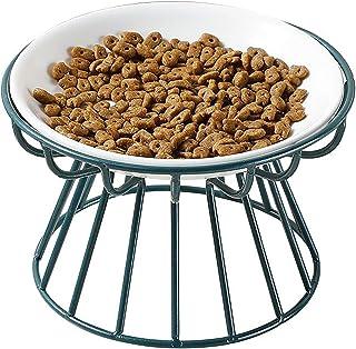 BUJINYUN 大面積フードボウル猫 食器 猫 えさ 皿 フードボウルスタンドセット 猫柄 陶器 えさ入れ ごはん皿 お水入れ かわいい ト食器台 猫 犬用 (小型犬) (緑)