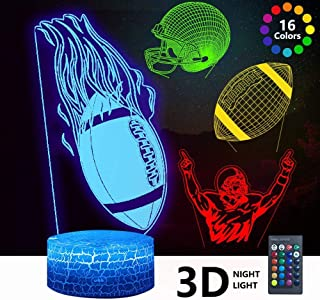 3D Rugby Night Light, DDD Lamp 4 Patterns Led Illusion...