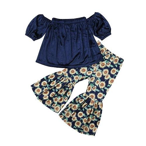2PCS Baby Girl Off Shoulder Tube Top Shirt+Ruffle Floral Pants Casual  Clothing 2aee8b3fe3