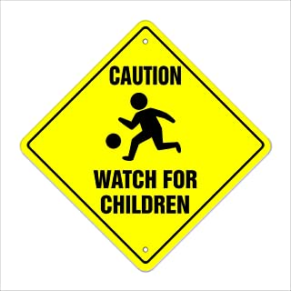 "Caution Watch for Children Crossing Sign Zone Xing | Indoor/Outdoor | 12"" Slow Playing at Play Safety"