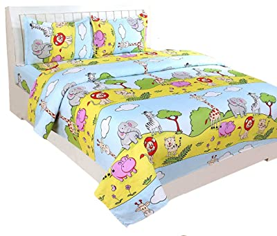 Bharat Textiles 150TC 100% Polycotton Double Bedsheet with 2 Pillow Cover,Kids,3D Print