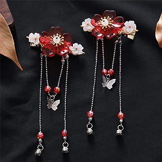 DAWEIF 1Pc/2Pcs Antiquity Chinese Hanfu Flowers Hair Comb Tassel Hair Clips Girls Kids Headwear Hair Accessories(01)
