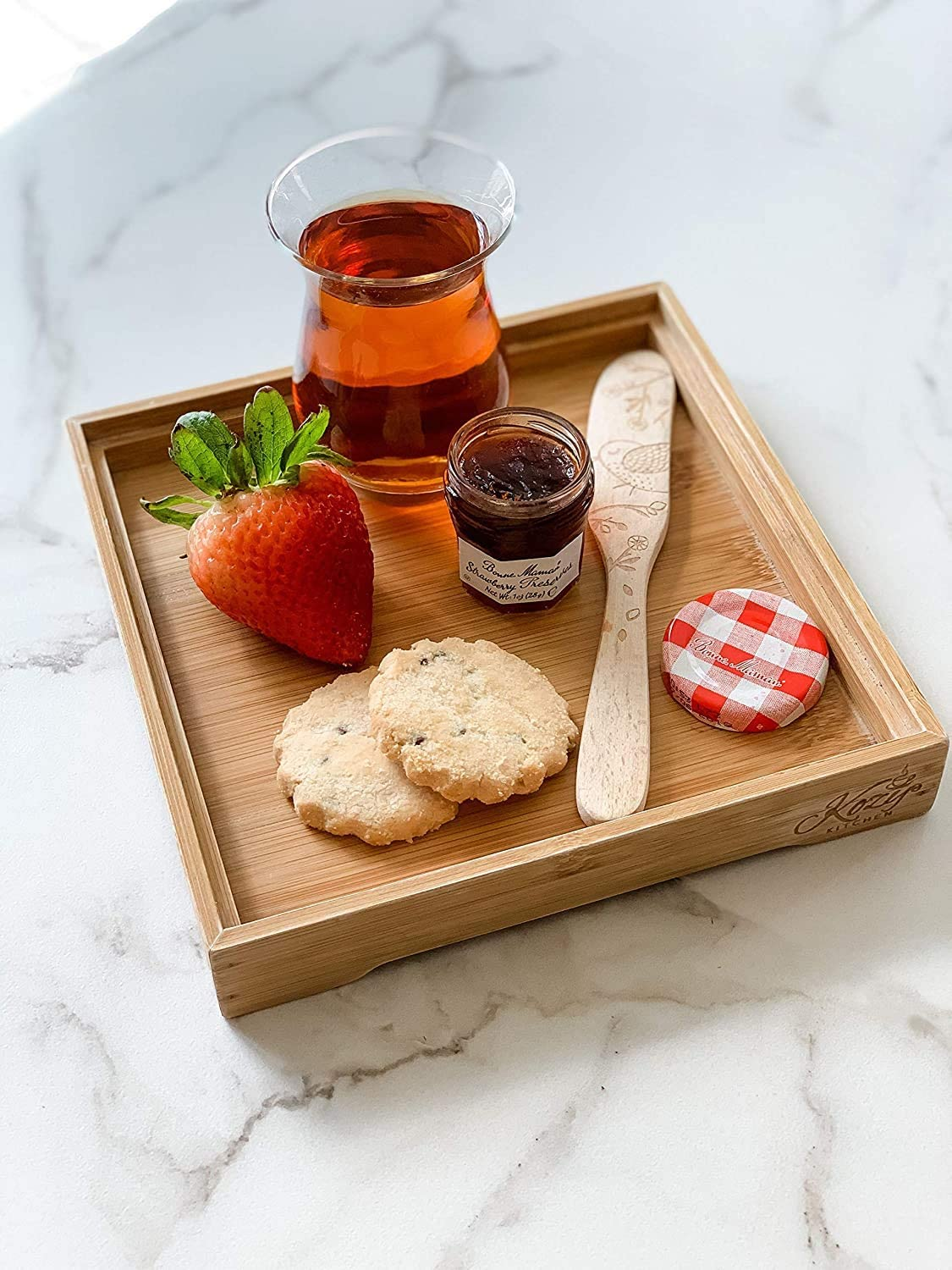 KOZY Tea Serving Complete Free Shipping Tray 100% Organic Wood - Hand-mad Bamboo Finish Portland Mall