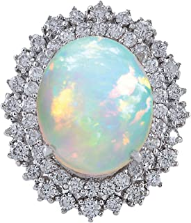8.7 Carat Natural Multicolor Opal and Diamond (F-G Color, VS1-VS2 Clarity) 14K White Gold Luxury Cocktail Ring for Women Exclusively Handcrafted in USA