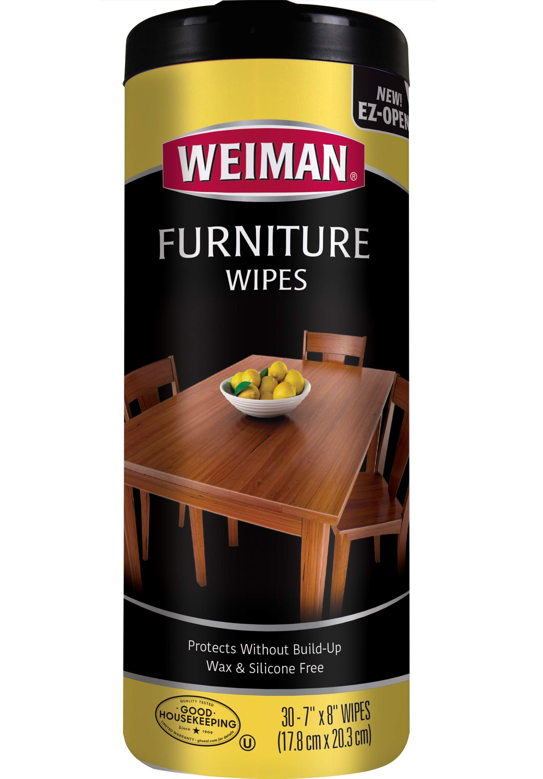 Weiman Furniture Wipes, Beautify & Protect, No Build-Up, Contains UVX-15, Pleasant Scent, Surface Safe – 30 count