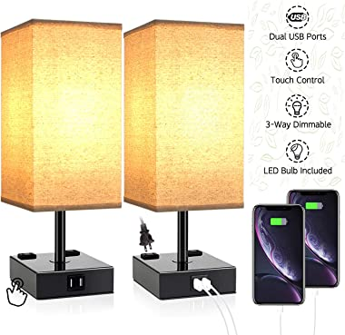 Touch Table Lamps for Bedrooms, Bedside Lamp with USB Port and Outlet, Dicoool Nightstand Lamp 3 Way Dimmable, w/Fabric Shade