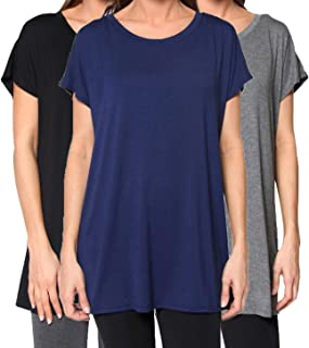 3 Pack Women's Tunic - Flowy Loose-fit Top with Long Kimono Sleeves
