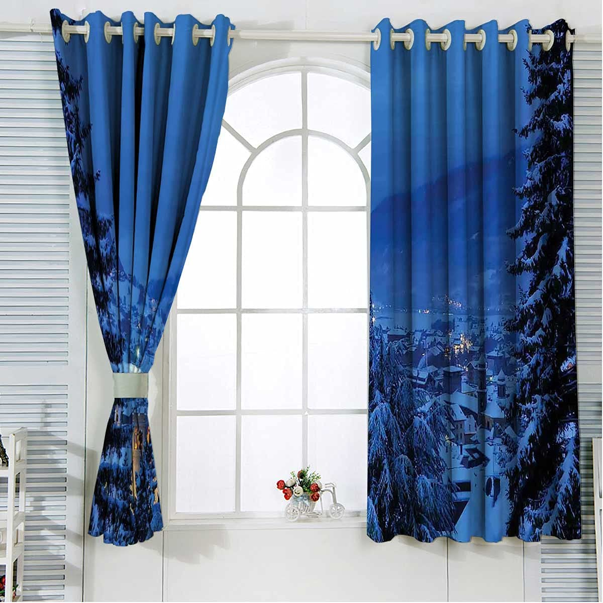 100% Blackout Curtains 84 Max 48% OFF Inches Bla Forest Length Spring new work one after another Winter Trees
