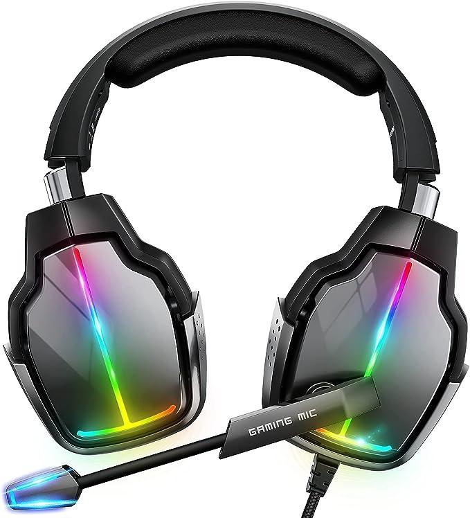 11 opiniones para Cascos Gaming PS4, Giratorio de 90° y 4 Modos de Iluminación RGB Auriculares