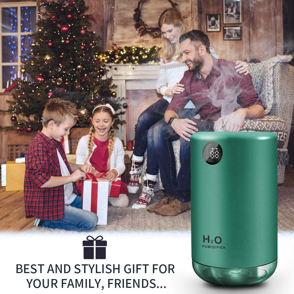 LED Night Lights Waterless Shut-Off Best Gifts MEIDI 500ML Rechargeable Humidifiers Cool Mist Cordless Travel Portable Humidifier With Adjustable Mist Mode