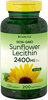 Sunflower Lecithin 2400mg | 200 Softgels | Rich in Phosphatidyl Choline | Non-GMO, Soy Free, Gluten Free Supplement | by C...