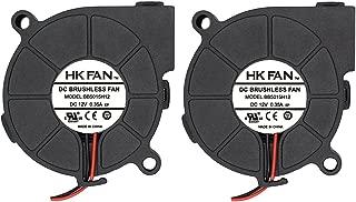 2pack 50mm x 15mm 5015 12V Dual Ball Bearing DC Brushless Cooling Blower Fan BB5015H12 with 2 Pin Terminal UL TUV