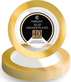 Premium Heavy-weight Round Plastic Plates – Dinner Plates Solid Gold Rim – Superior Plastic – Pack of 40 – 10.25 Inches Plates – Perfect for a Party