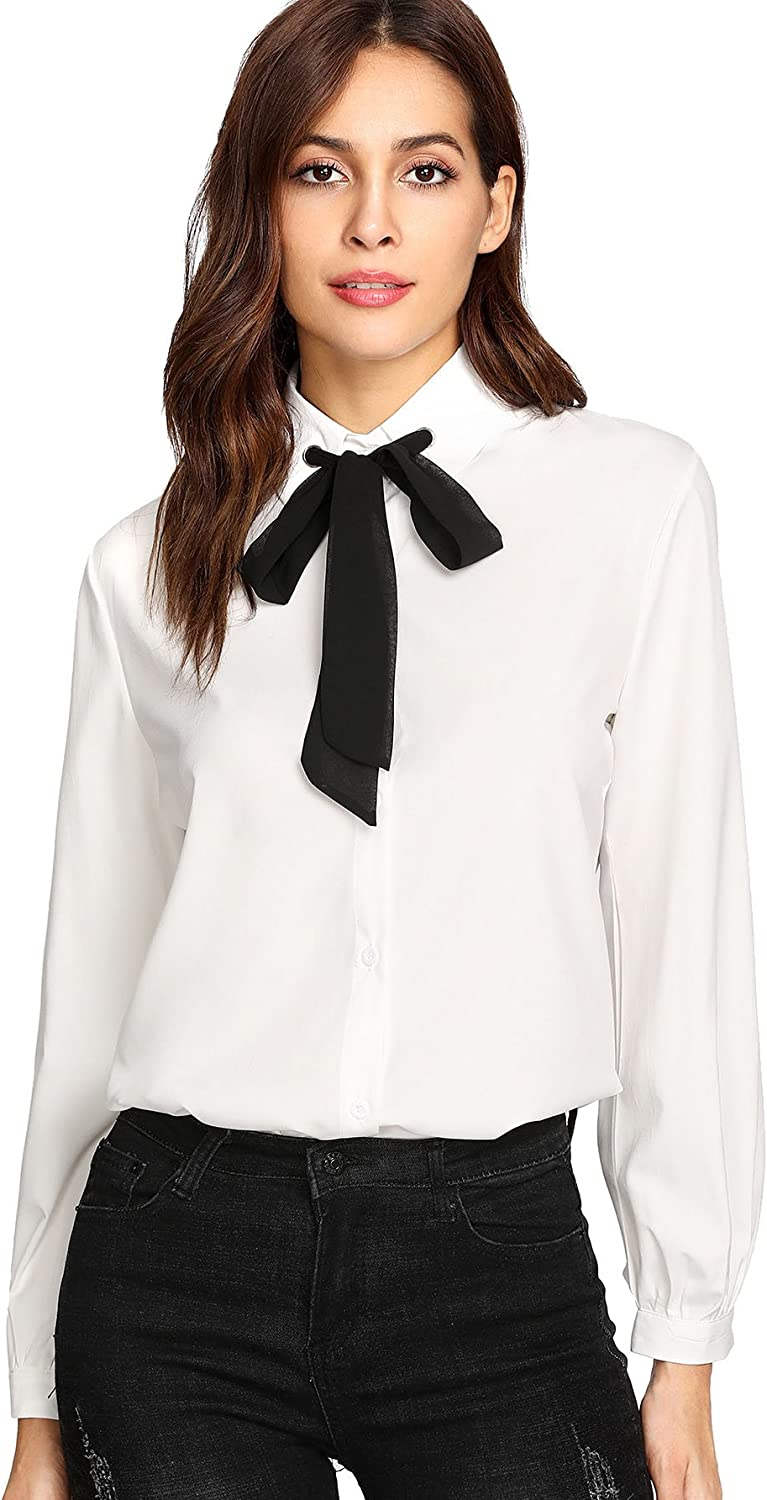 SELX Womens Solid Shirts Top Tie Bell Sleeves Crop Chiffon Bow