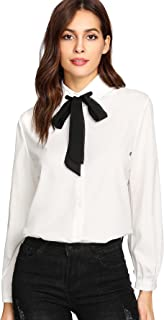 tie neck blouse black and white
