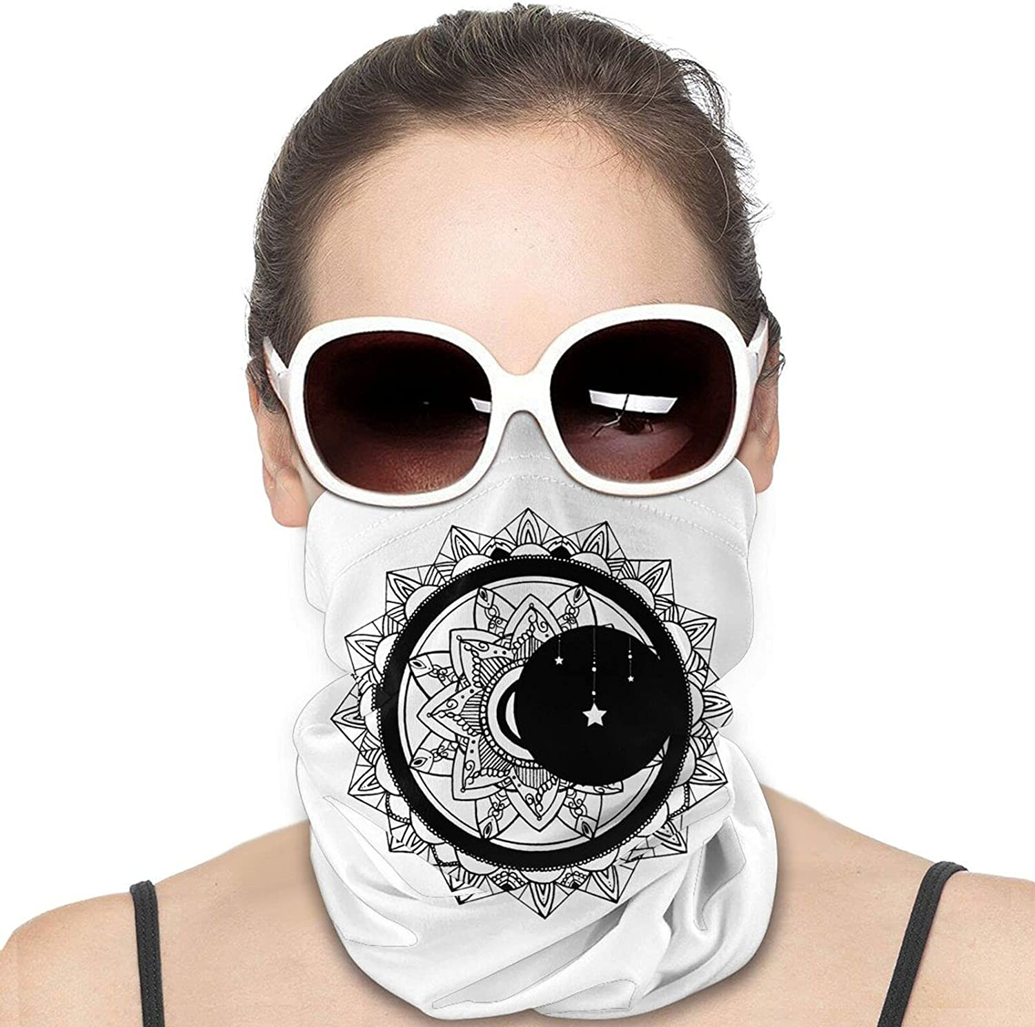 Sun Moon Stars Round Neck Gaiter Bandnas Face Cover Uv Protection Prevent bask in Ice Scarf Headbands Perfect for Motorcycle Cycling Running Festival Raves Outdoors
