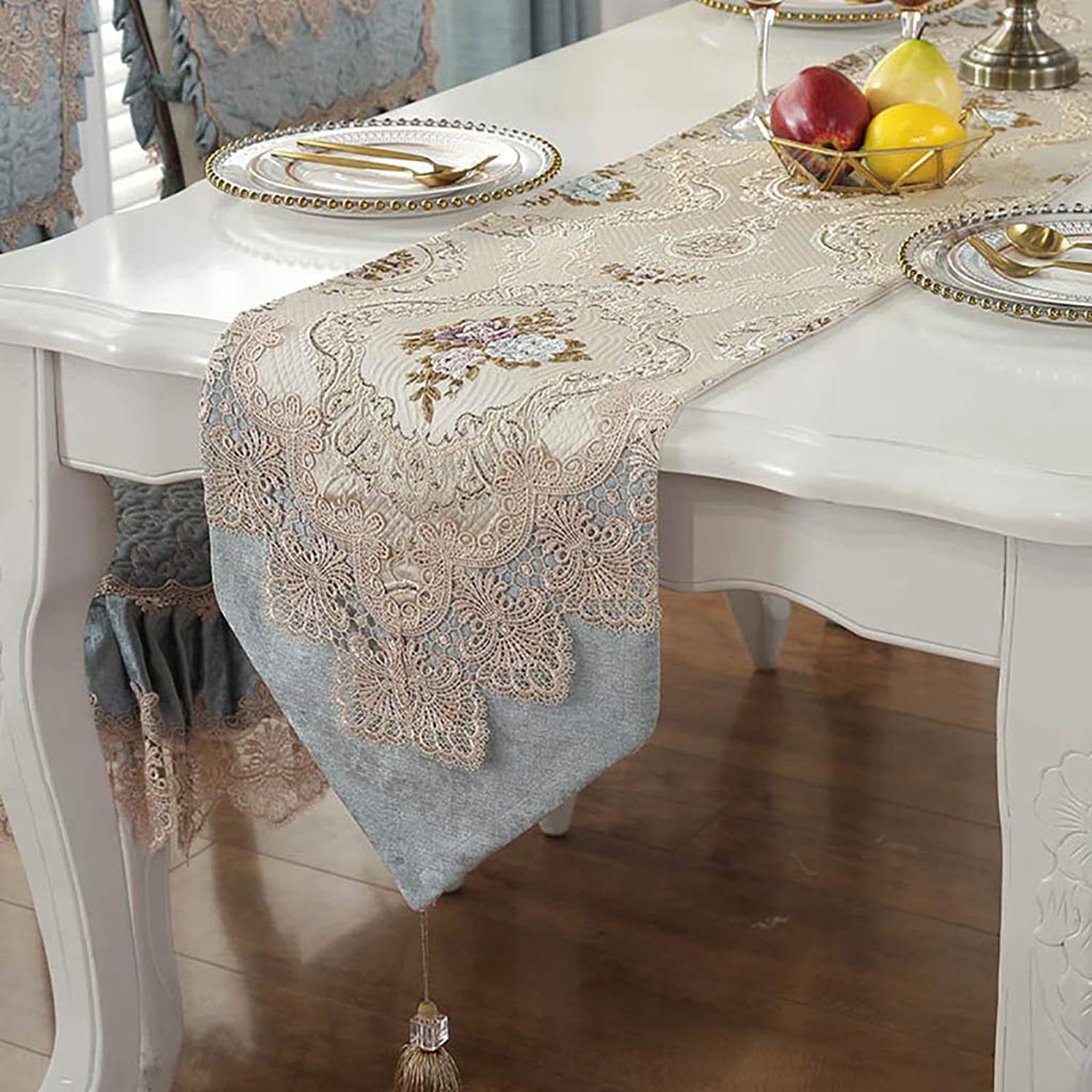 DF Table Runners for Family Dinners, Gatherings, Parties, Wedding, Everyday Use (Size   33×225cm) (color   bluee, Size   33×270cm)