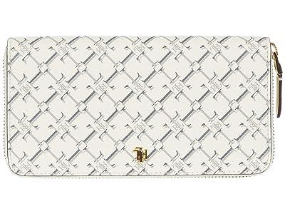 LAUREN Ralph Lauren Coated Canvas Zip Wallet Medium (Vanilla Heritage Logo) Handbags