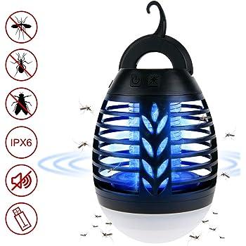 ROVLAK Zanzariera Elettrica Esterno 2-in-1 Lampada Antizanzare USB + Lanterna da Campeggio Ricaricabile Anti-zanzara Lanterna LED con Batteria Lampada Zanzara Killer per Campeggio Escursioni, Nero