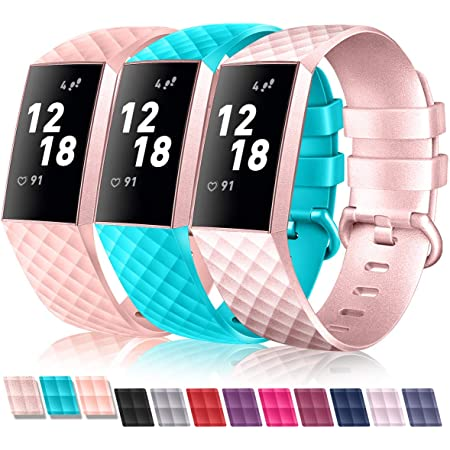 Fitbit Charge 3 /& 3 SE,Waterproof Replacement Bands Wristbands With Metal Buckle