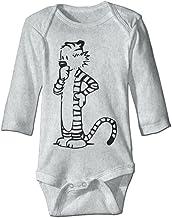HYRONE Thomas Calvin And Hobbes Meditation Baby Bodysuit Long Sleeve Romper Suits Ash