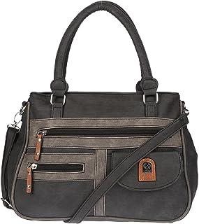 Christian Wippermann große Damen Umhängetasche Tasche Schultertasche in Leder Optik Schwarz-Grau