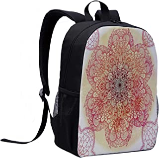 Red Mandala Mini Backpack,Magical Spiritual Hand Drawn Bloom with Swirled Petals Oriental Retro Decorative for Woman,12