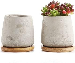 T4U Rachel's 6.5CM Serie de Cemento Suculento Cactus Macetas Jardineros de Macetas Contenedores Cajas de Ventana Elevado con Bandeja de Bambú, Paquete de 2