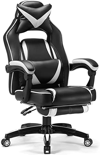 Reclining Gaming Chair Memory Foam Kealive Ergonomic High Back Racing Office Chair With Headrest And Lumbar Support Breathable PU Leather Retractable Footrest And Adjustable Lumbar Cushion