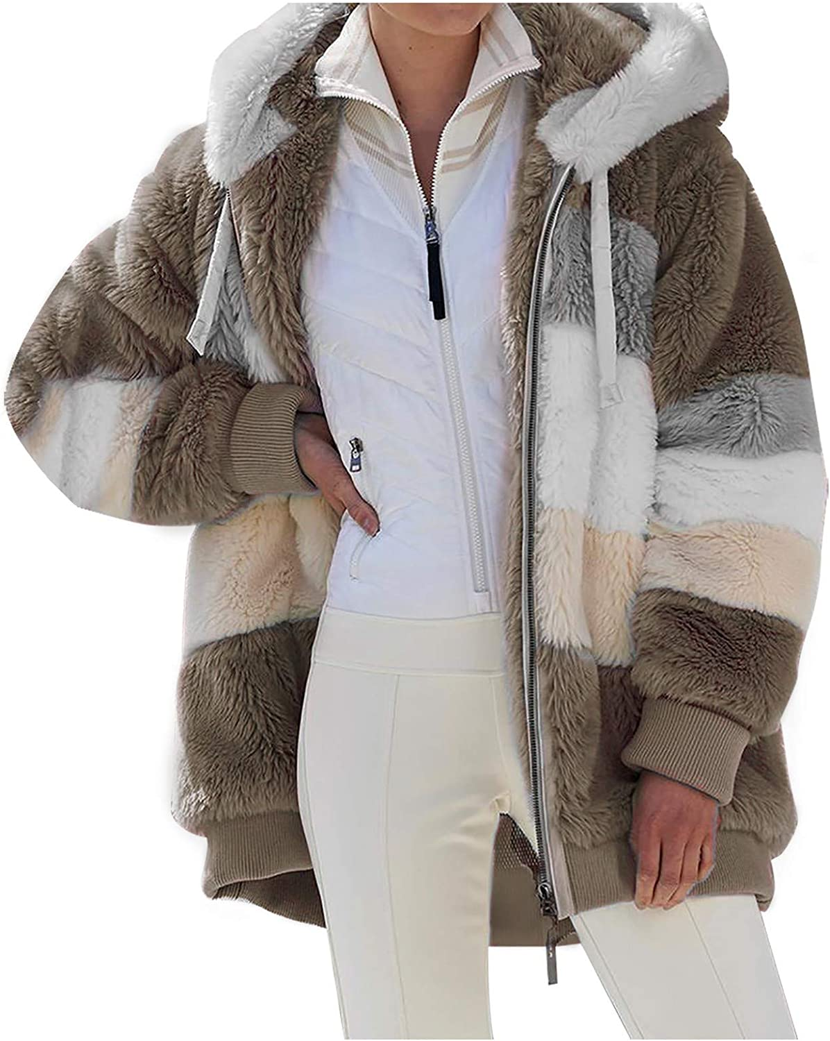 Womens Inexpensive Faux Fur Coat Color Jacket Matching Max 84% OFF Hooded Plu Fuzzy