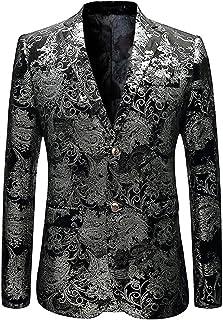 ccc4c46592b MAGE MALE Men s Dress Party Floral Suit Jacket Notched Lapel Slim Fit Two  Button Stylish Blazer
