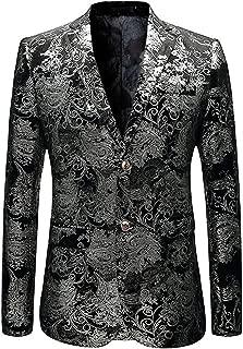 Men's Dress Party Floral Suit Jacket Notched Lapel Slim Fit Two Button Stylish Blazer