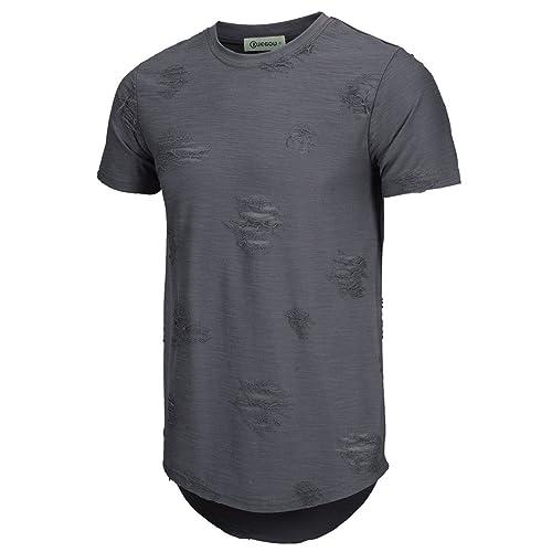 e0bf794d KLIEGOU Mens Hipster Hip Hop Ripped Round Hemline Hole T Shirt(1705)