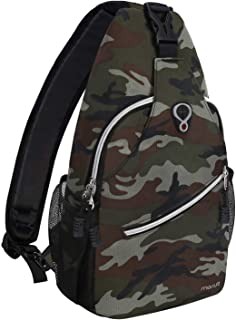 MOSISO Sling Backpack,Travel Hiking Daypack Pattern Rope Crossbody Shoulder Bag, Army Green Camouflage