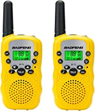 Baofeng BF-T3 Kids Walkie Talkies Toys for Age 3-12 Years Old Boys Girls Toddler Grandkids Granddaughter Mini 2 Way Radios UHF 462-467MHz Frquency 22 Channels (1 Pair , Yellow)