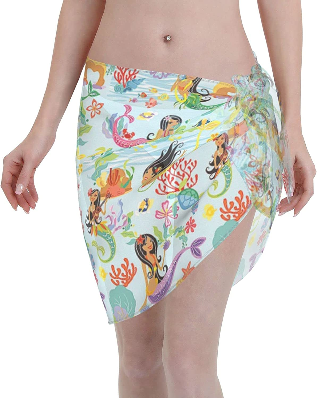 FSERSANHW Mermaids Chiffon Beach Sarong Ranking TOP14 Ups Women Quantity limited Short Cover Be