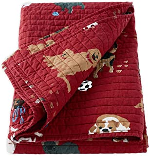 Plow & Hearth Dog Park Quilted Cotton Throw Blanket, 51 L x 61 W