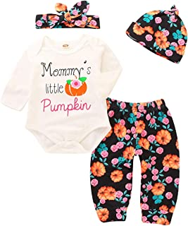 4Pcs Infant Baby Girl Thanksgiving Outfits Daddy Mommy's Little Turkey Bodysuit Romper+Pant Headband Fall Clothes Set
